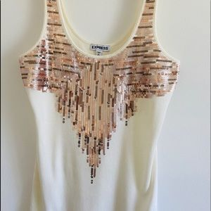 Express sequin front cream tank top size XS